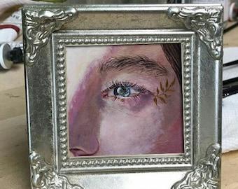 original tiny art, eye painting, eye art, tiny eye, mini art, oil tiny art, septemberwildflowers, original gift, gift for mother, oil art