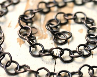 Oxidized Big Copper Chain 10mm, Large Round Antiqued Patina Solid Copper Cable Chain Huge Round LInks, 16 gauge
