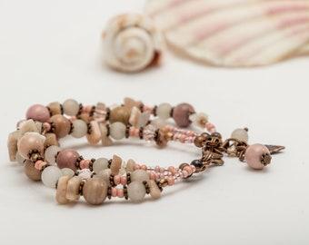 Multistrand Rhodochrosite, Rose Quartz handmade beaded gemstone bracelet