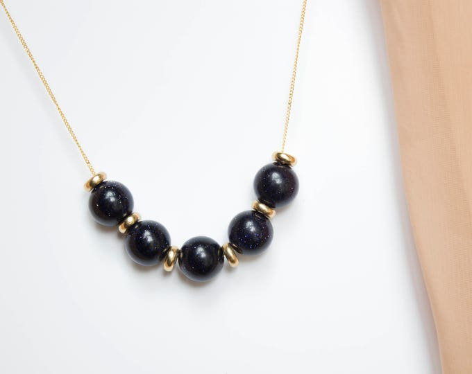 Blue Sandstone and Brass Necklace