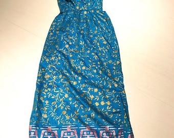 Gorgeous Vintage One Shoulder Hawaiian Maxi Dress