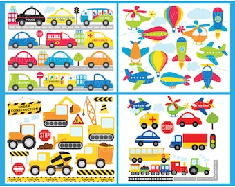 Transportation Clipart Bundle, Cars, Trucks, Airplanes, Trains, Construction vehicles, Commercial Use, Vector clip art, SVG Cut Files