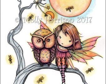 Little Purple Owl and Fairy Full Moon  -  Original Mixed Media Illustrationby Molly Harrison - Cute owl, whimsical, nursery art, fairy, moon