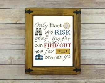 Only Those Who Risk -- T.S. Eliot Quote Cross-Stitch Pattern -- PDF Instant Download