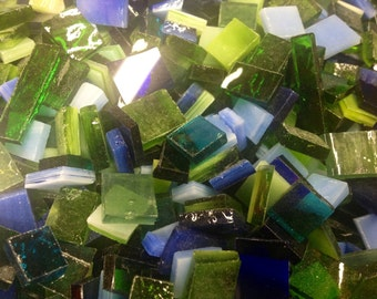 100  MIXED BLUE & GREEN Odd Size Tiles - Stained Glass Mosaic Supply B36