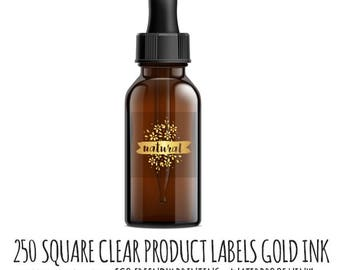 Square Labels,  250 Clear Square Label Stickers, GOLD ink, Sticker Labels clear with gold ink, sticker labels, custom labels, Gold Stickers