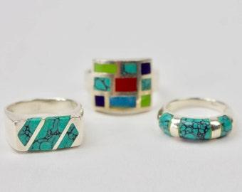 Vintage Sterling Silver Native American Signed Turquoise Rings / Sterling Silver Rings / Sterling Jewelry