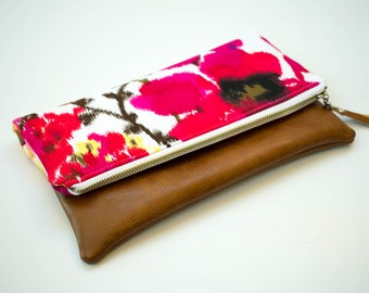Floral Bridesmaid Clutch, Fold Over Clutch, Floral Wristlet, Floral Fold Over Bag, Small Crossbody Purse