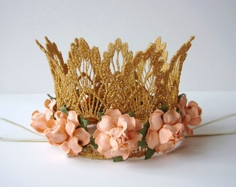 Small Gold Lace Crown - Peach Flowers - Newborn Gold Crown -  Birthday Cake Smash - Baby Gold Crown - Peach
