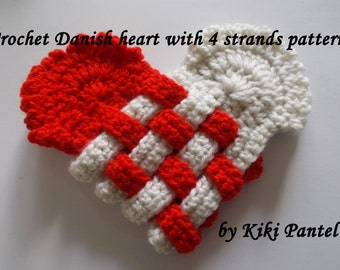 crochet danish heart with 4 strands-heart crochet pattern - valentine's pattern- crochet woven heart pattern - instant download