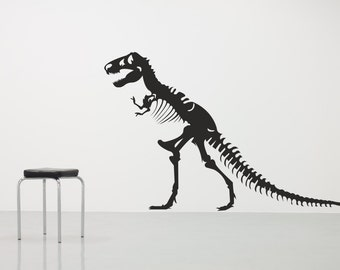 T Rex Skeleton Bones Silhouette Any colour and size. Vinyl wall art decal sticker quote. (#149)