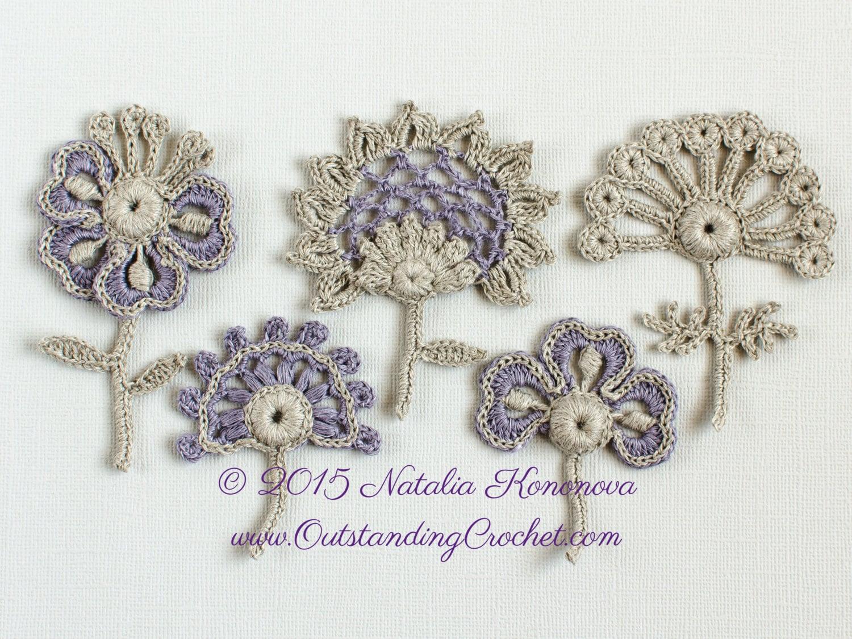 Irish Crochet Applique PATTERN - Flowers Set, Lace Motifs - Set of 5 ...