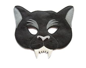 Panther Felt mask, Black Panther mask, Kids Panther costume, Adult animal mask, Jungle animal costume, Jungle party supply, Felt Panther