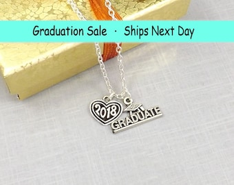 2018 Graduation Gift for Her, Graduation Necklace, 2018 High School Graduation Gift, Class of 2018 High School Graduation College Graduation