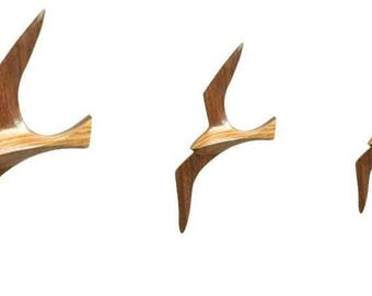 Set of 3 seagulls 17,5- 25,5 cm- Wall decoration with wooden hangers