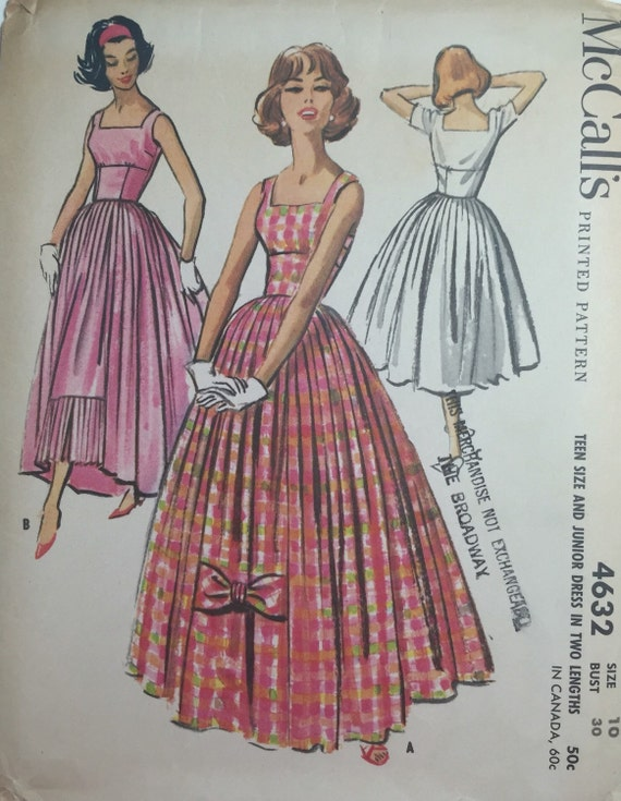 Very Rare 50s Vintage McCalls Pattern #4632 Bouffant Evening Gown ...