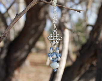 Celtic Style Frosted White & Blue Necklace