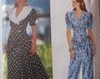 Dropped Waist Dress and Jumpsuit - Jessica Howard Sewing Pattern - Butterick 5437 - Sizes 6-8-10, Bust 30 1/2 - 32 1/2, Uncut