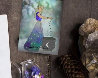 Goddess Cerridwen Oracle/Altar Card Art ~ Cauldron ~ Printable