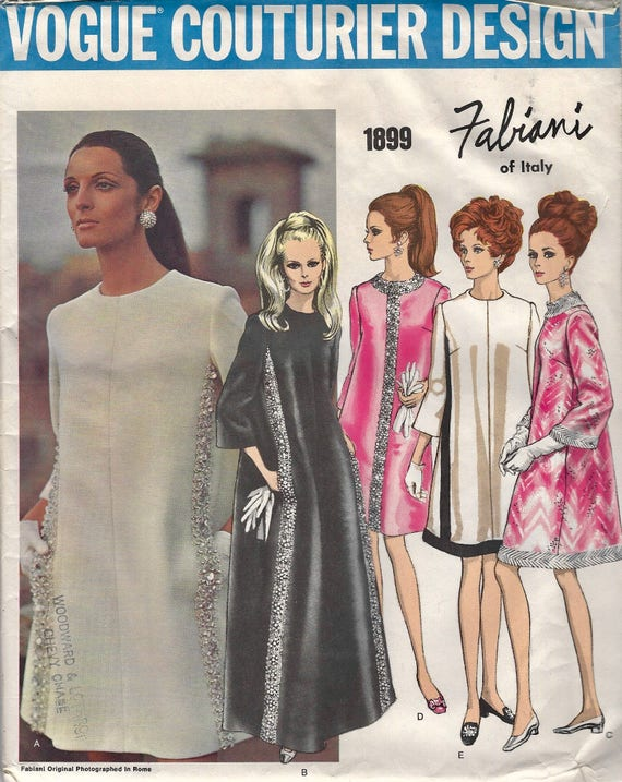 1960s Fabiani dress pattern feat. Mirella Petteni Haggiag - Vogue Couturier Design 1899