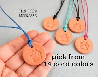 Essential Oil Diffuser Dog Charm Pets Aromatherapy Pendant Small Organic Natural Kiln Fired Clay Pet Cat Lover Gift Vegan Jewelry Necklace