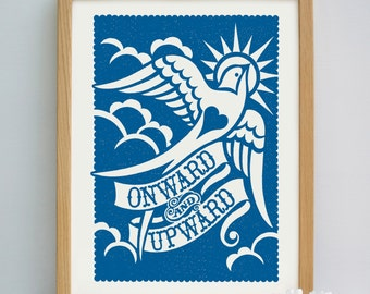 Onward and Upward Print | Leaving Gift | Encouragement Print | New Job Gift | New Start Gift | Moving Gift | Going Away Gift | New Home Gift