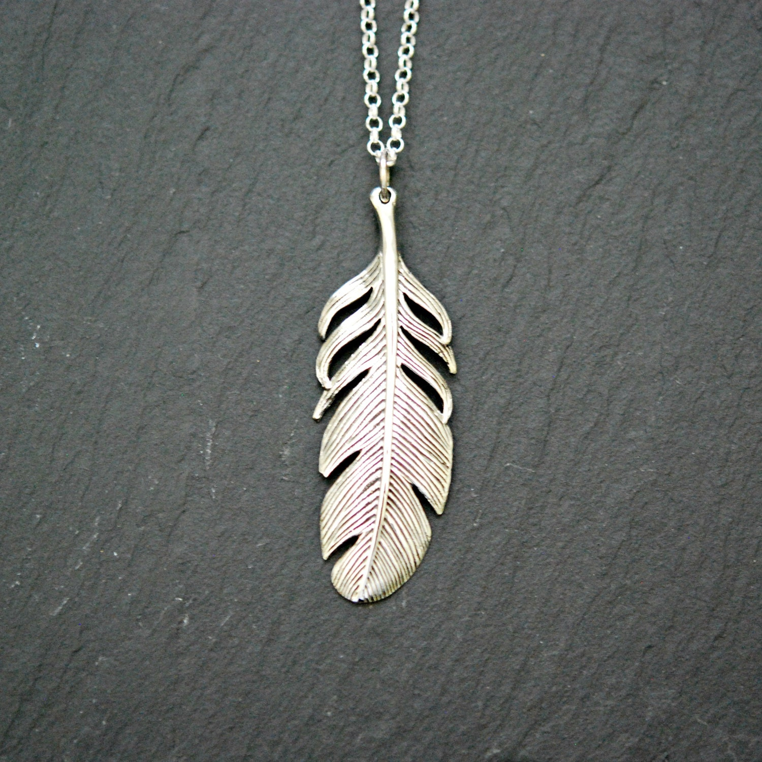 Sterling silver feather necklace bohemian jewelry large zoom aloadofball Images