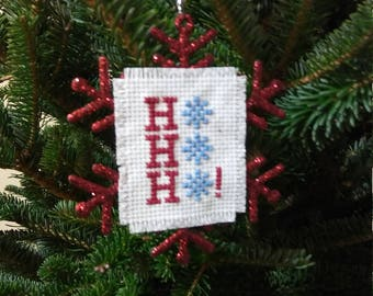 """Christmas """"HO HO HO"""" with Snowflake motifs on a Glitter Snowflake Ornament Completed Cross Stitch,Finished Cross Stitch,Holiday Decor"""