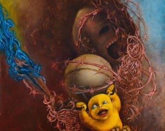 "Macabre art Creepy surreal print on canvas 26.4x14.6"" Horror Beksinski Dark art Surrealism Visionary art"