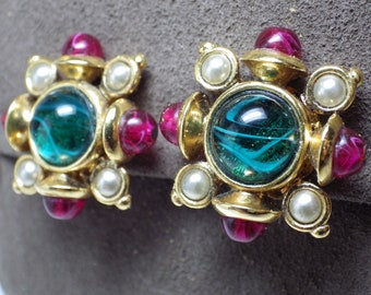 1990s Vintage BARRERA Clip Earrings Cabochon Green Red Pearl Gold Tone Metal