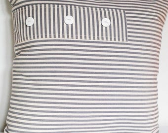 Gray and white striped pillow canvas 45 x 45