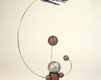 Comet Passing Miniature Alien Sun and Planet Orrery System in Wood Table or MAGNET