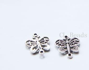 30pcs Oxidized Silver Tone Base Metal Pendant-Butterfly 27x14mm (16924Y-G-327)