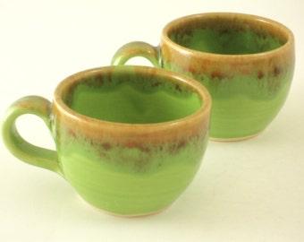 Espresso Cups x 2 in Green Mottle Glaze