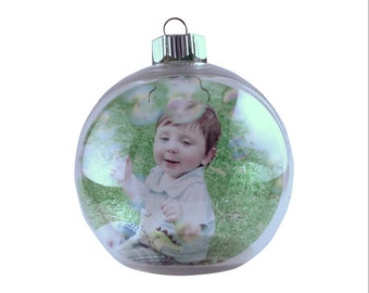 Custom Christmas Picture Ornament, Personalized Photo Ornament, Holiday Ornament, Memory Ornament