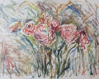 Pink Flowers Oil Still Life Sketch Paintings