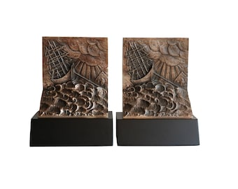 Ship in a Storm Brutalist Style Bookends - Pewter Tone and Matte Black Vintage Nautical Bookends