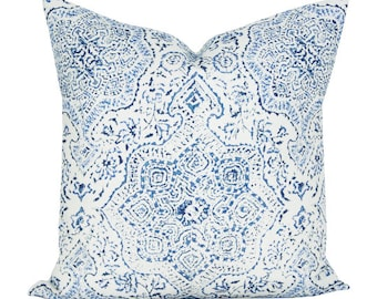 Deeg pillow cover in Blue/Blue on White