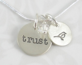 Trust Necklace hand stamped sterling silver charm