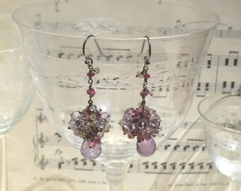 Fairy cluster Earrings with faceted Amethyst Drops, Tourmaline, Citrine Quartz, Sterling oxidized Silver 925