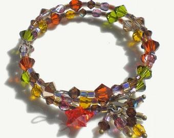 Autumn Memory Bracelet Multi-Color Swarovski Crystals W Czech Glass Crystals