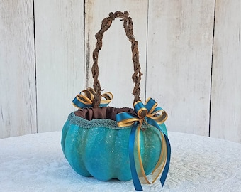 Turquoise Pumpkin Basket for your Fall Wedding with Gold Accents