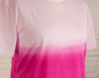Womens pastel grunge tshirt, pink ombre,  tie dye dip dyed gradient, pastel goth t shirt, hippie clothes, bohemian festival t-shirt size 2XL