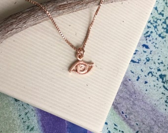 Rose gold vermeil tiny evil eye charm necklace, rose gold filled box chain, Kabbalah protection, rose gold layering necklace N128
