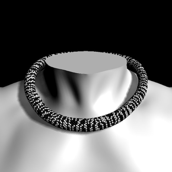 Bead Crochet Pattern Zebra Black And White Seed Bead Necklace