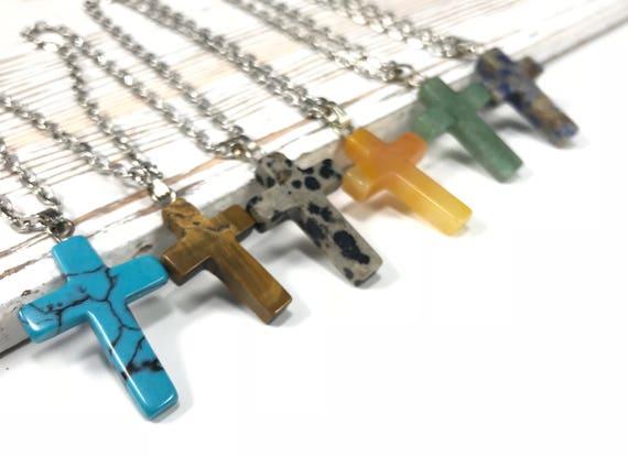 Stone cross necklace gemstone cross pendants healing stone aloadofball Image collections