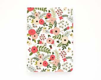 Medium Illustrated Journal | Hand Illustrated Floral Journal, Lined Notebook Stationery : Blooming Wreath Collection