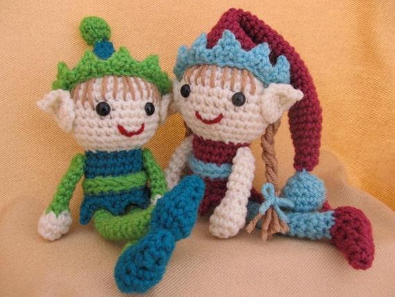 Elliot y Ellen elfos duende Crochet Patrón de Amigurumi
