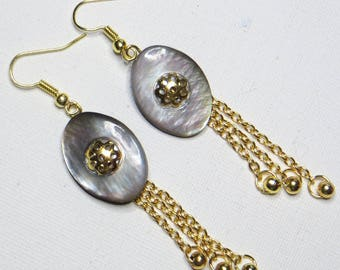 Earrings mother of Pearl oval and chains gold - #743