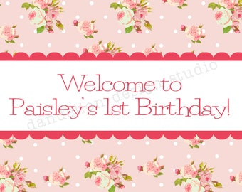 PRINTABLE Welcome Sign - Bright Shabby Chic Party Collection - Dandelion Design Studio